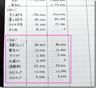 家計簿ノートの画像【2ステップ目後半は、支出を記入する】