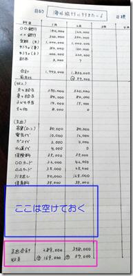 家計簿ノートの画像【2ステップ目の下部分は空欄にしておく】