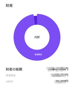 LINE家計簿の「財産」の総額と内訳
