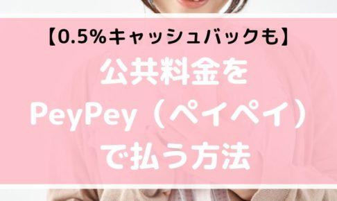 【0.5%キャッシュバック】PeyPey(ペイペイ)で公共料金がスマホで払える